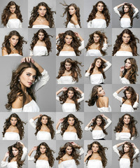 Collage, Beauty portrait of young attractive women
