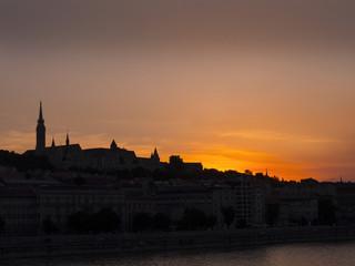 The setting sun over the River Danube