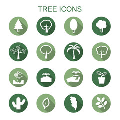 tree long shadow icons