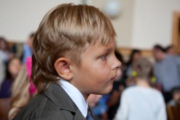 Little school boy