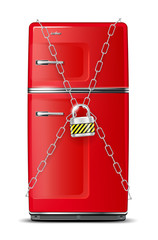 Red refrigerator wrapped in metal chains with lock