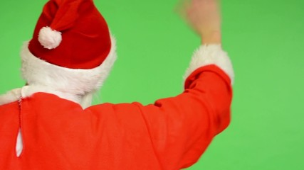 santa claus - green screen - santa claus standing back and waves