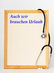 Shield with stethoscope, Urlaub