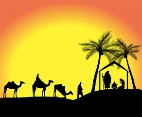 silhouette di presepe nel deserto con re magi
