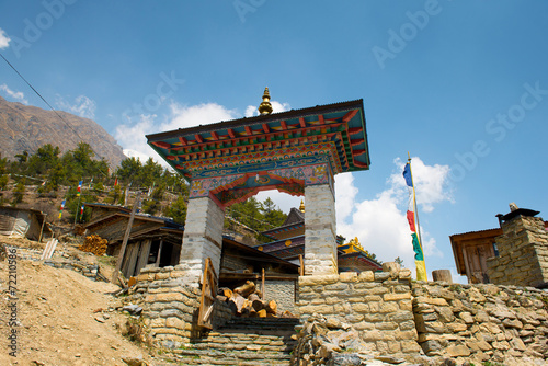 poster of Buddhist temple in Upper Pisang on a Annapurna Circuit, Nepal