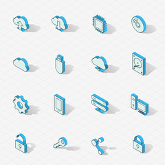 Light vector isometric flat design icon set