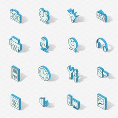 Light vector isometric flat design icon set
