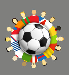 World national teams around the soccer ball