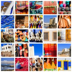 composition of objects or typical places of Morocco