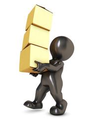 3D Morph Man Carrying Boxes