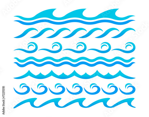 Fototapeta Water waves design elements vector set