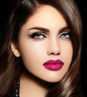 beautiful model with bright makeup colorful lips