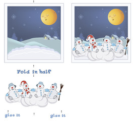 3D Christmas post card. Christmas Snowmen