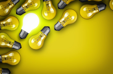 Idea concept with group of light bulbs