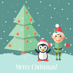 Christmas card with elf and penguin and fir tree
