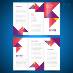 brochure design template trifold vector geometric abstract trian