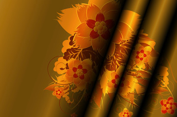 Gold curtains with beautiful floral patterns.
