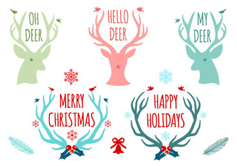 Christmas deer antlers, set of vector design elements
