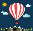 Air balloon flying over the mountain Icons of traveling - 72213500