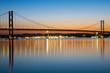 The Forth Road Bridge in Scotland at dawn