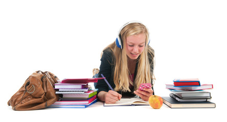 Teen girl with homework and smarphone