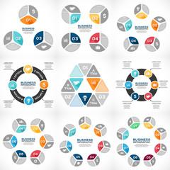 Circle infographic, diagram 3, 4, 5, 6, 7, 8 options.