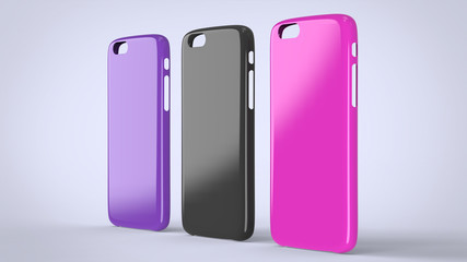 Glossy plastic cases mock-up for smartphone