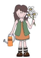 Little cartoon girl gardener holding flowers