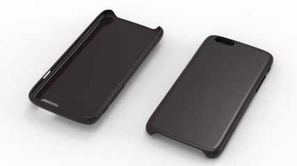 Black glossy plastic cases mock-up for smartphone