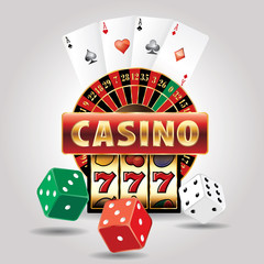 casino sign dice card