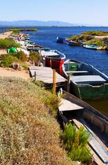 Old fishing boats at delta of Ebro