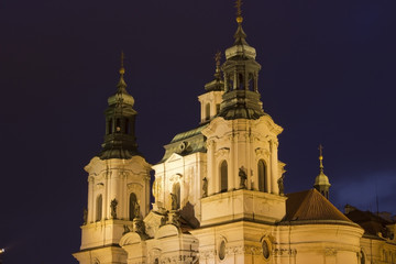 St. Nicholas church in Prague at night, Czech Republic