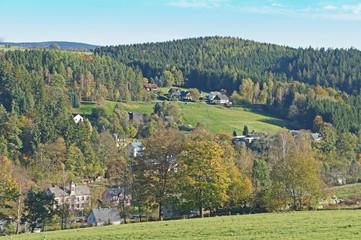Kleines Dorf im Erzgebirge im Herbst