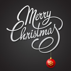 Merry Christmas  card with Vector Lettering