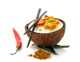 Coconut, rice and curry chicken isolated