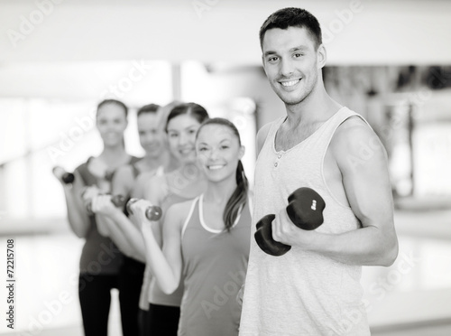 canvas print picture group of smiling people with dumbbells in the gym