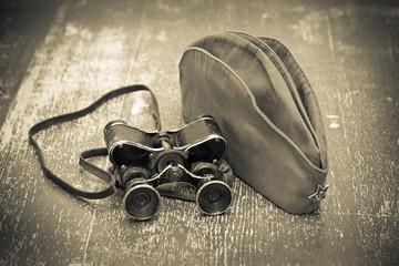 Victory Day on May 9. military binoculars and a field cap