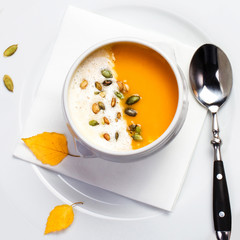 Yellow Pumpkin soup made for Thanksgiving. Studio shot for resta