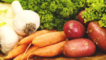 Food banner with fresh vegetables for your design