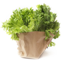 Lettuce wrapped in packaging paper