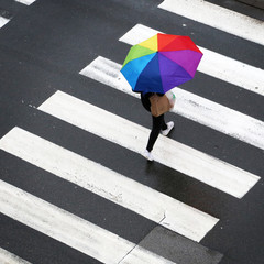 Rainy day, Woman crossing the zebra with umbrella