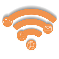 Vector wifi icon, infographic concept, orange design