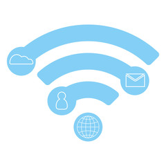 Vector wifi flat icon, infographic concept, blue design