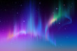 canvas print picture - Aurora Borealis in starry polar sky, illustration