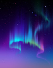 Aurora Borealis in the sky, abstract lights illustration