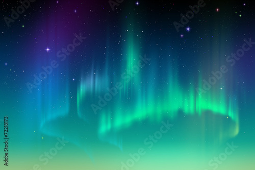 Aurora Borealis background, northern lights illustration - 72218173