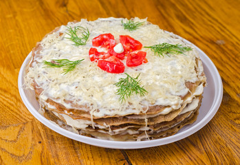 Liver cake with tomatoes