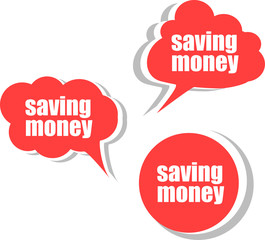 saving money. Set of stickers, labels, tags. Business