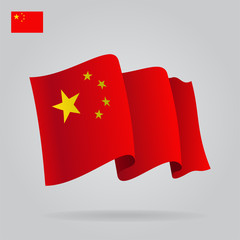 Flat and waving Chinese Flag. Vector