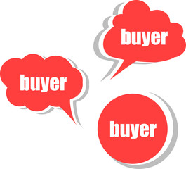 buyer word on modern banner design template. set of stickers